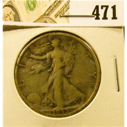 1933-S Walking Liberty Half Dollar, F, value $18
