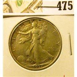 1937 Walking Liberty Half Dollar, XF+, value $18