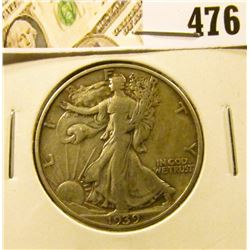 1939 Walking Liberty Half Dollar, XF, value $20