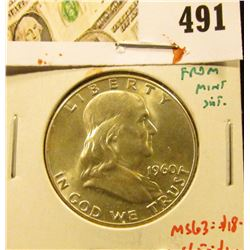 1960 Franklin Half Dollar, BU MS63+ from Mint Set, MS63 value $18, MS65 value $100, value $18 to $10