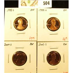 Group of (4) PROOF Lincoln Cents, 1998-S, 1999-S, 2000-S, 2001-S, group value $23+