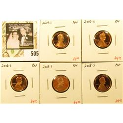 Group of (5) PROOF Lincoln Cents, 2004-S, 2005-S, 2006-S, 2007-S, 2008-S, group value $20