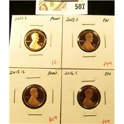 Group of (4) PROOF Lincoln Cents, 2011-S, 2013-S, 2015-S, 2016-S, group value $18