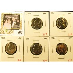 Group of (5) PROOF Jefferson Nickels, 1960, 1961, 1962, 1963, 1964, group value $15