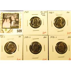 Group of (5) PROOF Jefferson Nickels, 1967 BU/SMS (proof-like), 1968-S, 1969-S, 1971-S, 1972-S, grou