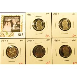 Group of (5) PROOF Jefferson Nickels, 1982-S, 1983-S, 1987-S, 1992-S, 1993-S, group value $14+