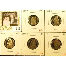 Group of (5) PROOF Jefferson Nickels, 1994-S, 1995-S, 1996-S, 1997-S, 1998-S, group value $17+