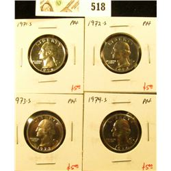 Group of (4) PROOF Washington Quarters, 1971-S, 1972-S, 1973-S, 1974-S, group value $20