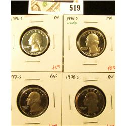 Group of (4) PROOF Washington Quarters, 1976-S, 1976-S 40% silver, 1977-S, 1978-S, group value $23