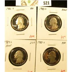 Group of (4) PROOF Washington Quarters, 1982-S, 1983-S, 1984-S, 1987-S, group value $16