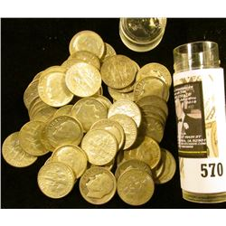 Roll of (50) Old Silver Roosevelt Dimes in a plastic tube.