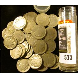 (40) Old well-circulated Buffalo Nickels, most appear to be dateless.