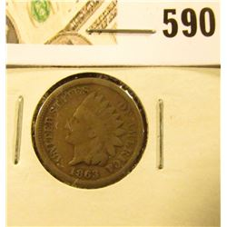 1863 Copper-nickel Indian Cent, Good