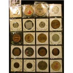 Plastic page containing (22) different Tokens, Wooden Nickels, Medals, Elongates, and etc.