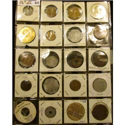 Plastic page containing (20) different Lodge Tokens, Wooden Nickels, Medals, Ottumwa Territorial, an