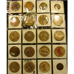 Plastic page containing (20) different Wooden Nickels & Tokens, including a Grundy Center Good For T
