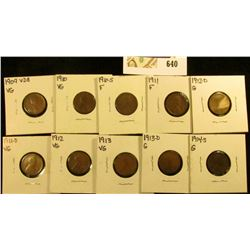 1909 P VDB, 10P, S, 11P, D, 12P, D, 13P, D, & 14S Scarce Semi-key date Lincoln Cents in cardboard ho