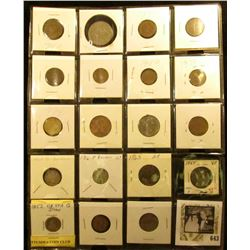 (14) Mixed Foreign Coins; 1914D & 16P Barber Dimes; 1865 Two Cent Piece (holed); 1868 U.S. Shield ni