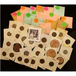 """(39) various date Jefferson nickels in coin envelopes; (2) """"Molly's Café Ottumwa, Ia."""" wooden Nickel"""