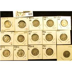 1916P, S, 17P, S, 18D, 19P, 20D, 21P, 23P, 24P, 25P, 26P, 27P, D, & 39D Mercury Dimes, all carded in