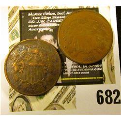 1864 & 1868 U.S Two Cent Pieces. G-VG+.