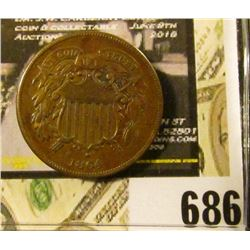 1864 LM U.S Two Cent Piece, VF,