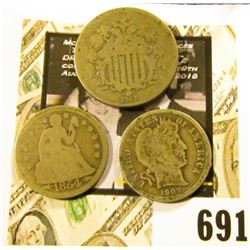1867 U.S. Shield Nickel; 1854 Arrows at Date Liberty Seated Dime; & 1909 P Barber Dime.