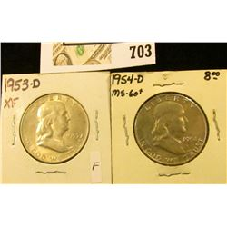 1953 D EF & 54 D Uncirculated Benjamin Franklin Half Dollars.
