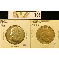 1956 P AU & 1958 D Uncirculated Benjamin Franklin Half Dollars.
