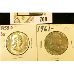 1958 D & 61 P Uncirculated Benjamin Franklin Half Dollars.