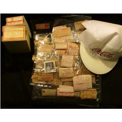 "(2) ""Coca-Cola"" White caps with red lettering; couple pharmaceutical boxes with labels; & a huge gro"