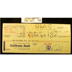 """August 6, 1948 """"Hollywood. Vine Office California Bank 6263 Hollywood Boulevard Hollywood, Cal. hole"""