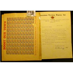"""""""Elmira, New York"""" Boost Our Town Sheet of """"Buy At Home"""" Stamps; """"Boost and Buy in Elmira"""" Poster an"""