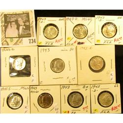 1941S, (3) 43P, & (6) 43D Mercury Dimes, All Uncirculated to Brilliant Uncirculated.