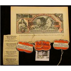 "(3) Old ""Prohibition is the Best Method"" hang tags; (4) attached ""Merchant's Discount Coupon…1st Ann"