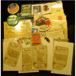 Several old Stamps & Seals; Cracker Jack's Prize Musical Instrument; German Coin; Rail road Train Co
