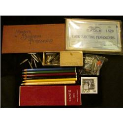 """Group of Mechanical Pencil lead in original boxes; Set of Colored Pencils in a """"Conte 1355 Made In F"""