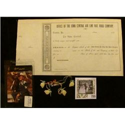"""1850 era unissued Stock Certificate from """"Office of the Iowa Central Air Line Rail Road Company""""; an"""