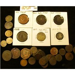 Cull Coin lot: (7) U.S. Large Cents; (32) Indian Head Cents; (2) Two Cent Pieces; (2) Three Cent Nic