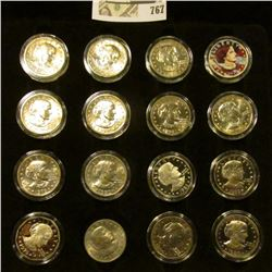 Felt Tray of (16) Susan B. Anthony Dollars including 1999 P Proof, 1979S, 80S, & 81S Proofs and a co