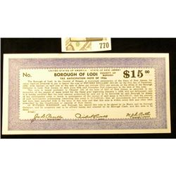 "Depression Scrip $15 ""United States of America -State of New Jersey County of Bergen Borough of Lodi"