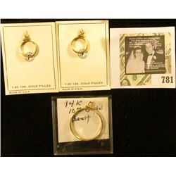 Pair of 1-20 12K Gold Filled Coin Bezel on original placards; and a 14K Gold Bezel for a $10 U.S. Go