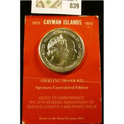 1972 Cayman Islands Sterling Silver $25 Specimen Uncirculated Edition Issued to Commemorate The 25th