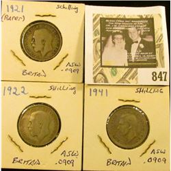 1921, 22, & 41 Great Britain Silver Shillings, grades up to VF.