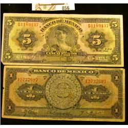 Mexico One Peso Series F & Five Peso 1942 Bank notes.