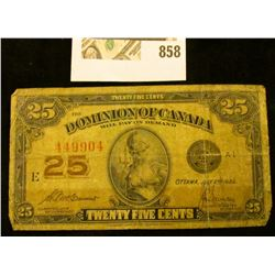 "Series 1923 ""Dominion of Canada .25c Fractional Note."