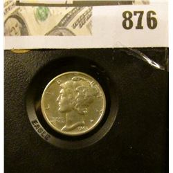 Mercury Dime 1943 D Unc in black holder