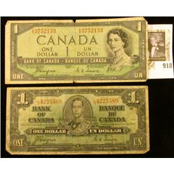 2 Bank of Canada $1 Currency - 1 1937 & 1 1954