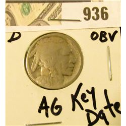 Acid Date 1914-D Buffalo Nickel - AG - Key Date