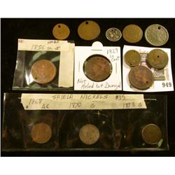 Group of mostly holed older coins, low grade, damaged: 3 - 1850's Large Cents (1829 not holed but da